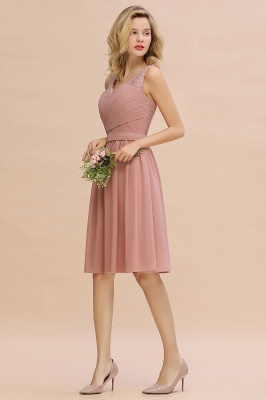 Fantastic A-Line V-Neck Knee Length Dusty Rose Prom Dress Chiffon Short Party Dresses with Pleats Online_13