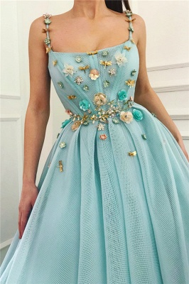 Simple A-Line Spaghetti Straps Ruffles Prom Dress Sleeveless Beading Formal Party Dresses with Flowers_2