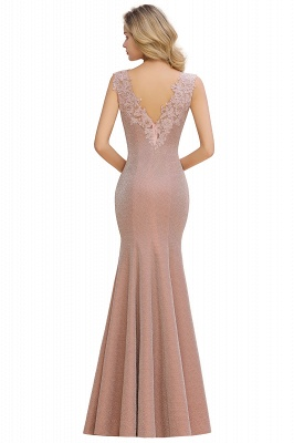 Chic Deep V-Neck Sleeveless Pink Prom Dress Glittery Appliques Mermaid Evening Dresses On Sale_8