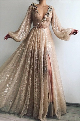 Chic V-Neck Long Sleeves Flowers Prom Dress Stunning Sequins Front Slit Evening Dresses Online_1