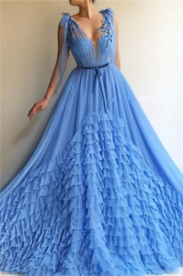Modest Tulle Deep V-Neck Sleeveless Prom Dress Blue Layers Long Formal Party Dresses with Sash_1