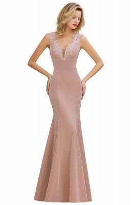 Chic Deep V-Neck Sleeveless Pink Prom Dress Glittery Appliques Mermaid Evening Dresses On Sale_10