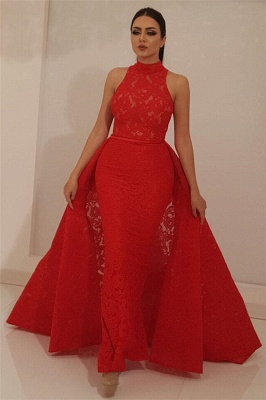 High Neck Sleeveless Red Lace Prom Dress Mermaid Long Evening Dresses with Detachable Skirt_1