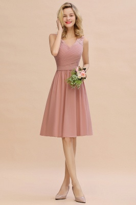 Fantastic A-Line V-Neck Knee Length Dusty Rose Prom Dress Chiffon Short Party Dresses with Pleats Online_11