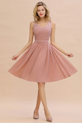Fantastic A-Line V-Neck Knee Length Dusty Rose Prom Dress Chiffon Short Party Dresses with Pleats Online_6
