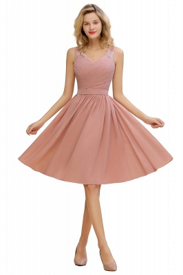Fantastic A-Line V-Neck Knee Length Dusty Rose Prom Dress Chiffon Short Party Dresses with Pleats Online_1