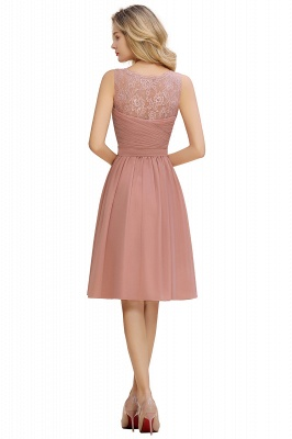 Fantastic A-Line V-Neck Knee Length Dusty Rose Prom Dress Chiffon Short Party Dresses with Pleats Online_20