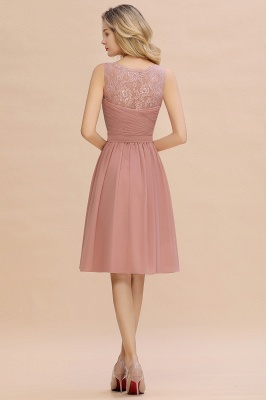 Fantastic A-Line V-Neck Knee Length Dusty Rose Prom Dress Chiffon Short Party Dresses with Pleats Online_10