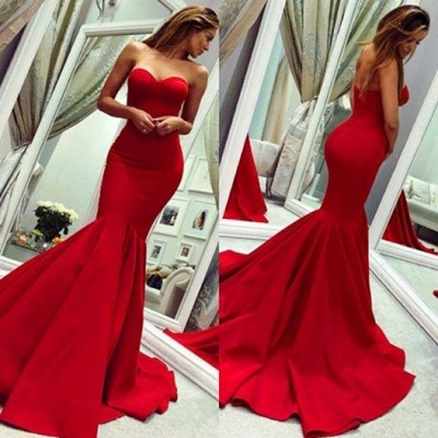 Strapless Sweetheart Red Prom Dress Mermaid Sleeveless Evening Dresses On Sale_3