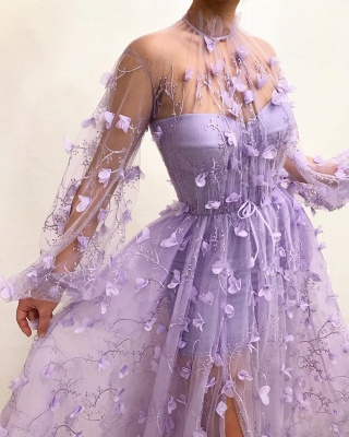 Fantastic Tulle High-Neck Long Sleeves Prom Dress Sexy Front Slit Appliques Evening Dresses with Flowers_3