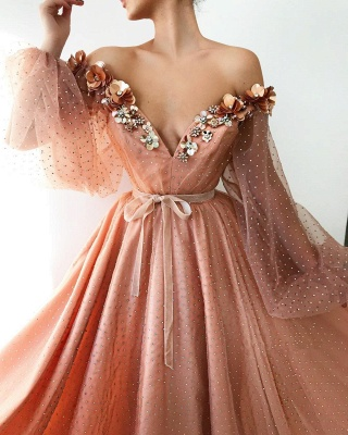 Gorgeous Tulle Beading V-Neck Long Prom Dress Off-the-Shoulder Long Sleeves Evening Dresses On Sale_2