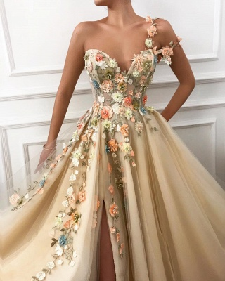One-Shoulder Strap Sweetheart Prom Dress Tulle Front Slit Appliques Party Dresses with Flowers_2