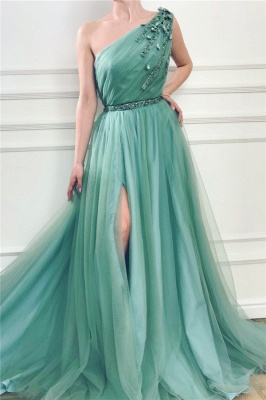 Sexy One-Shoulder Green Tulle Prom Dress Front Slit Evening Dresses with Beading Sash_1