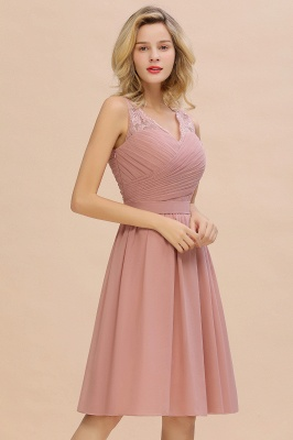 Fantastic A-Line V-Neck Knee Length Dusty Rose Prom Dress Chiffon Short Party Dresses with Pleats Online_9