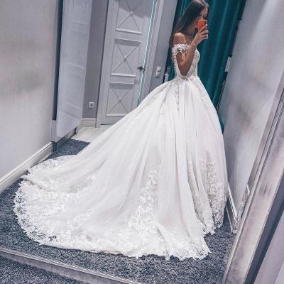 Glamorous Fantastic V Neck Lace Long Wedding Dresses Off the Shoulder White Bridal Gowns On Sale_3