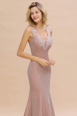 Chic Deep V-Neck Sleeveless Pink Prom Dress Glittery Appliques Mermaid Evening Dresses On Sale_16
