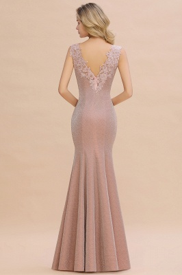 Chic Deep V-Neck Sleeveless Pink Prom Dress Glittery Appliques Mermaid Evening Dresses On Sale_17