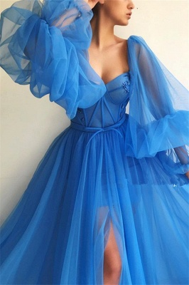 Sexy Long Sleeves Sweetheart Front Slit Prom Dress See Through Bodice Blue Party Dresses Online_3