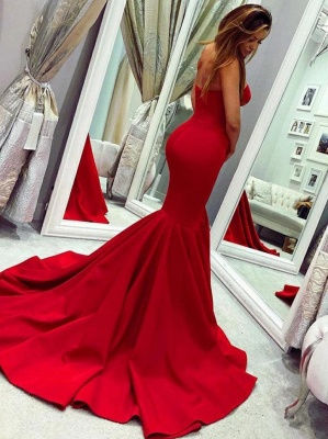 Strapless Sweetheart Red Prom Dress Mermaid Sleeveless Evening Dresses On Sale_2