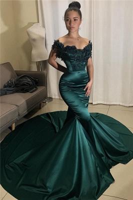 Stunning Off-the-Shoulder Prom Dresses Mermaid Appliques Formal Dresses_1