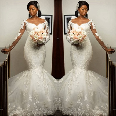 Gorgeous Sweetheart Appliques Mermaid Wedding Dresses Long-Sleeves Lace Bridal Gowns On Sale_2