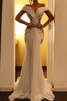 Elegant Off-the-Shoulder Sweep Train Prom Dresses Mermaid Sweetheart Evening Dresses_1