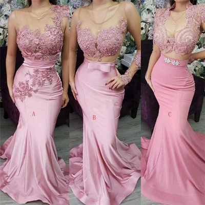 Sexy Jewel Pink Mermaid Prom Dresses Appliques Lace Formal Party Dresses On Sale_2