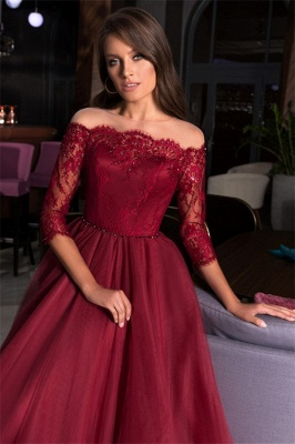 Sexy Off-the-Shoulder Lace Tulle Prom Dresses A-Line Appliques Evening Dresses_3