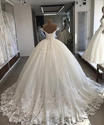 Chic Off-the-shoulder Lace Wedding Dresses Ball Gowns V-Neck Tulle Appliques Bridal Gowns On Sale_2