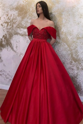 Glamorous Off-the-shoulder Sweetheart Prom Dresses Belted A-line Puffy Formal Dresses_3