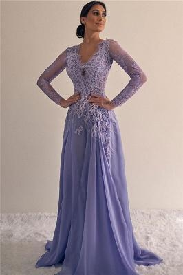 Affordable Long Sleeves V-Neck Appliques Prom Dresses A-line Lace Formal Dresses_1