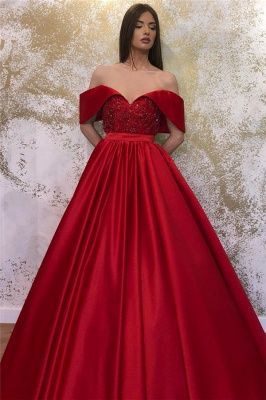 Glamorous Off-the-shoulder Sweetheart Prom Dresses Belted A-line Puffy Formal Dresses_2