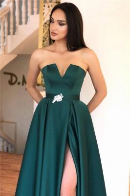 Sexy Strapless V-Neck Belted Prom Dresses Slit Long Formal Party Dresses_2