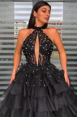 Stunning Halter Keyhole Layers Prom Dresses Sheer Top Sleeveless Evening Dresses_2