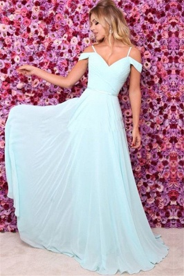 Elegant A-line Off-the-Shoulder Chiffon Prom Dresses Blue Evening Dresses_1