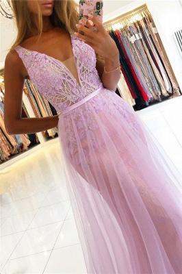 Modest Straps V-Neck Lace Tulle Prom Dresses A-line Backless Formal Party Dresses_3