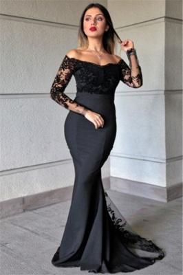 Elegant Off-the-Shoulder Mermaid Prom Dresses Black Appliques Long Sleeves Formal Dresses Online_1