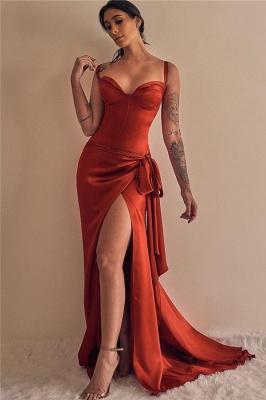 Elegant Straps Sweetheart Prom Dresses Sweep Train Side Slit Evening Dresses_1