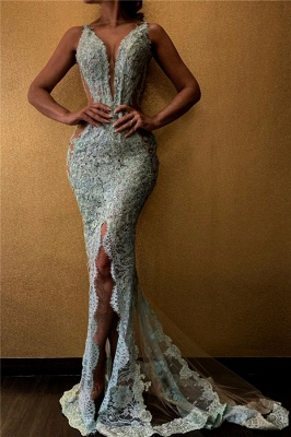 Chic V-Neck Lace Mermaid Prom Dresses Appliques Evening Gowns with Front Slit Online_1