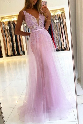 Modest Straps V-Neck Lace Tulle Prom Dresses A-line Backless Formal Party Dresses_1
