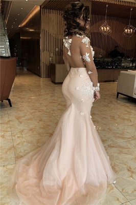 Gorgeous V-Neck Long Sleeves Prom Dresses Mermaid Appliques Formal Party Dresses On Sale_2