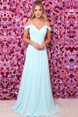 Elegant A-line Off-the-Shoulder Chiffon Prom Dresses Blue Evening Dresses_2