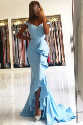 Stunning Off-the-Shoulder Prom Dresses Sweetheart Ruffle Mermaid Evening Dresses On Sale_2