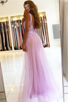 Modest Straps V-Neck Lace Tulle Prom Dresses A-line Backless Formal Party Dresses_2