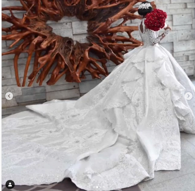 Luxury Ball Gown High-Neck Wedding Dresses Sparkly Beadings Long Sleeves Applique Bridal Gowns_4