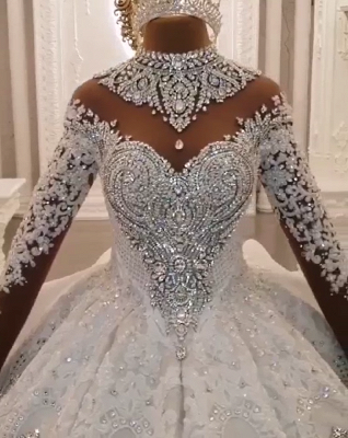 Luxury Ball Gown High-Neck Wedding Dresses Sparkly Beadings Long Sleeves Applique Bridal Gowns_7