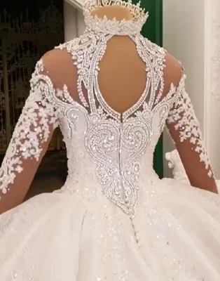 Luxury Ball Gown High-Neck Wedding Dresses Sparkly Beadings Long Sleeves Applique Bridal Gowns_5
