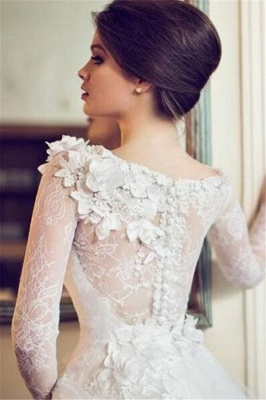 Elegant A-line Long Sleeves Wedding Dresses Floral Appliques Tulle Bridal Gowns On Sale_2