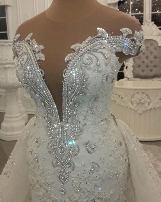 Glamorous Off-the-Shoulder V-Neck Lace Wedding Dresses Detachable Overskirt Sleeveless Bridal Gowns with Open Back_4