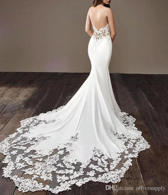 Affordable Spaghetti Strap White Wedding Dress Lace Appliques Chapel Train Bridal Gowns On Sale_5